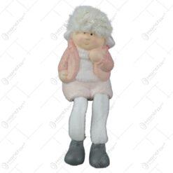 Figurina copil Craciun cu sclipici din ceramica cu picioare textil Baiat/Fata 12 CM