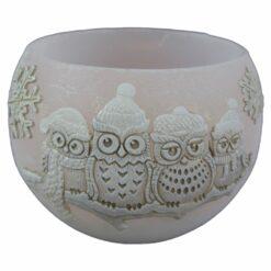 Lumanare de Craciun tip lampion cu bufnite 12 CM - Winter Owl
