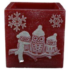 Lumanare de Craciun tip lampion cu bufnite 11x11CM - Winter Owl