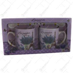 Set 2 cani cu lingurite din ceramica Lavender 7 CM