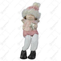 Figurina Craciun Fetita ingeras cu picioare textil 12 CM Roz
