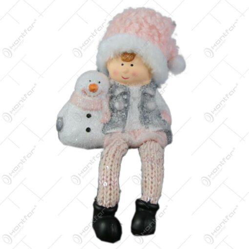 Figurina copil cu om de zapada din ceramica 12 CM