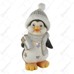 Candela din ceramica - Pinguin cu cadou 40 CM