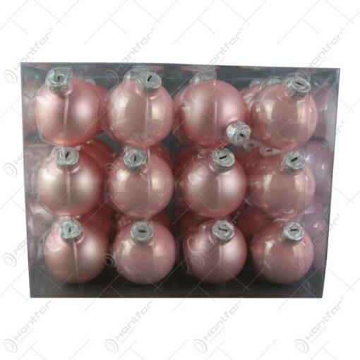 Set 36 globuri din sticla Roz 5.7 CM