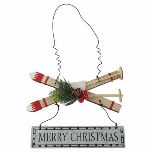 """Decor pentru usa din lemn Schi """"Merry Christmas"""" 23 CM"""