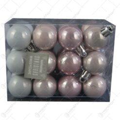 Set 24 de globuri din plastic Pink 3 CM
