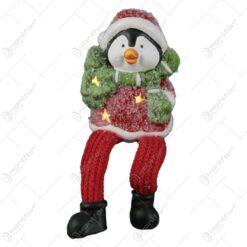 Figurina Craciun Pinguin din ceramica cu led 10 CM
