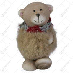 Figurina Craciun Ursulet cu blana din ceramica 10 CM