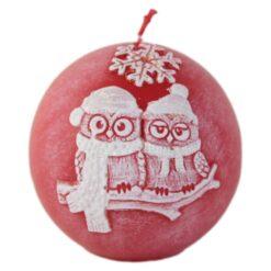 Lumanare de Craciun Glob cu bufnite 8 CM - Winter Owls