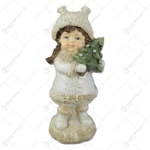 Figurina Craciun Fetita cu ursulet/brad 13 CM