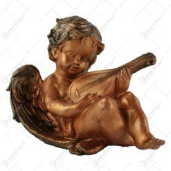 Statueta inger cu lauta din rasina Bronz 17 CM