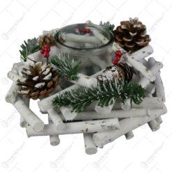 Candela cu coronita nuiele natur decorat cu conuri de brad 24x10 CM