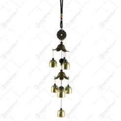 Clopotel de vant din metal cu flori 44 CM