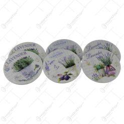 Set 6 suporturi pahare din lemn 10 CM Lavender Pastel