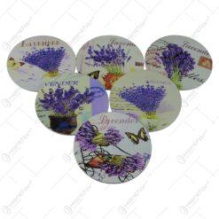 Set 6 suporturi pahare din lemn 10 CM Lavender