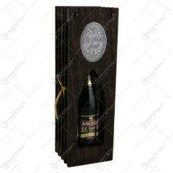 Suport lemn in forma de carte cu o sticla de vin 200 ml
