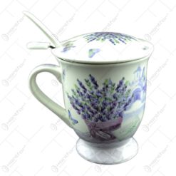 Cana din ceramica cu infuzor metalic si lingurita Lavanda Passion