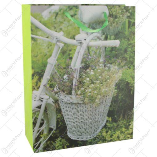 Punga cadou din hartie 31x40 CM - Bicicleta cu flori