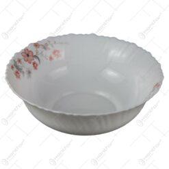 Bol supa din sticla opal cu decor floral 25 CM