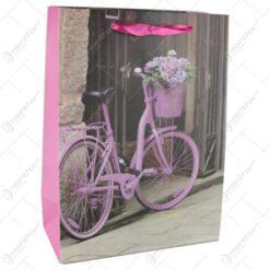 Punga cadou din hartie 18x24 CM - Bicicleta cu flori