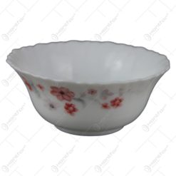 Bol salata din sticla opal cu decor floral 12 CM - Se vinde 6 buc./bax.