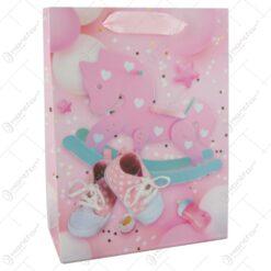 Punga cadou din hartie 18x24 CM - Nou nascuti baietei/fetita