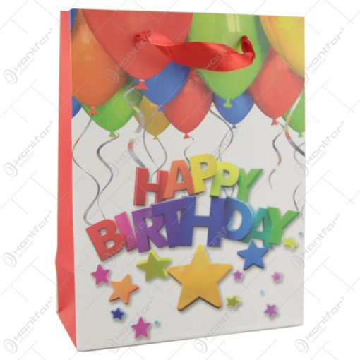 Punga cadou din hartie 18x24 CM - Baloane Happy Birthday