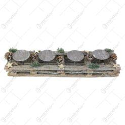Suport lumanare din nuiele decorat cu conuri de brad 51x8 CM