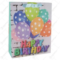 Punga cadou din hartie 26x32 CM - Baloane Happy Birthday