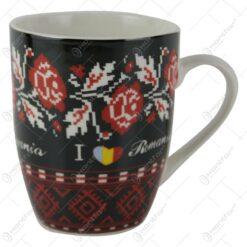 Cana Traditionala din ceramica cu motive florale 10 CM I love Romania