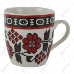 Cana Traditionala din ceramica cu motive florale 8 CM