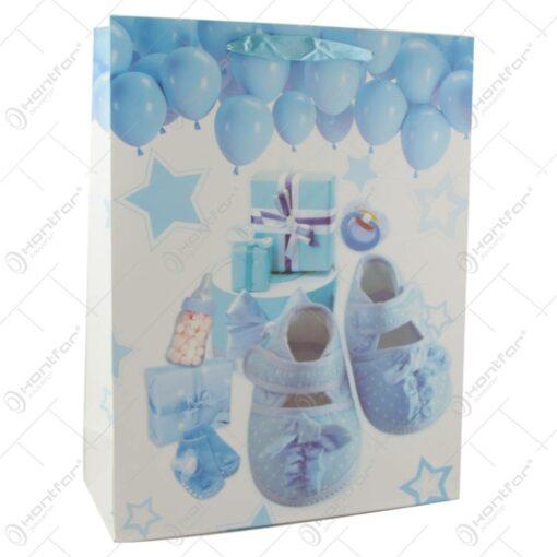 Punga cadou din hartie 31x40 CM - Nou nascuti baietei/fetita