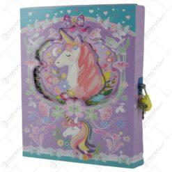 Agenda cu lacat - Design cu Unicorn 17×22 CM