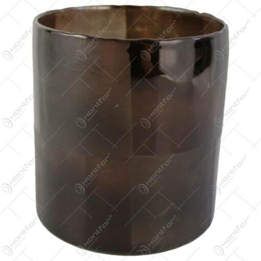 Candela din sticla Maro-Transparent 15x17 CM