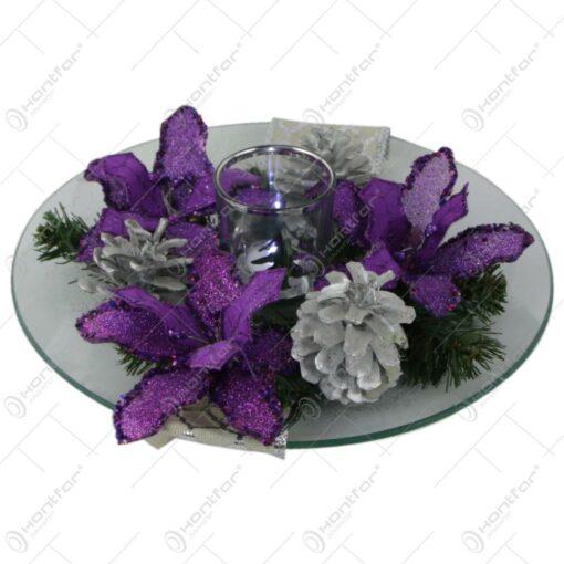 Decoratiune de masa Craciun cu candela si flori glitter 25 CM