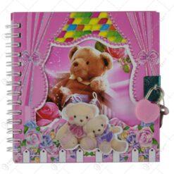 Agenda cu lacat 13x13 CM - Design cu ursulet/fetita