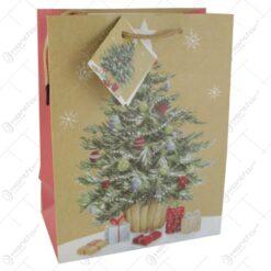 Punga cadou Craciun din hartie 18x23 CM - Brad de craciun cu cadouri