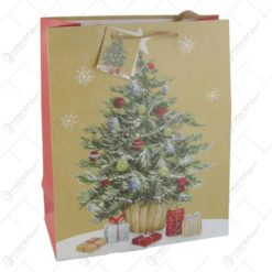 Punga cadou Craciun din hartie 26x32 CM - Brad de craciun cu cadouri