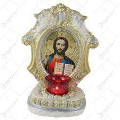 Candela din ipsos cu icoana Maria cu pruncul/Isus 15x23 CM
