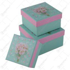 Set 3 cutii cadou patrate cu capac 13 CM - Petale de flori