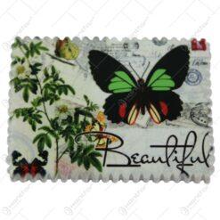 Magnet figider din ceramica cu flori si fluturi 8x6 CM