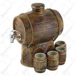 Butoi vin din ceramica cu robinet si 4 pahare 26x29 CM