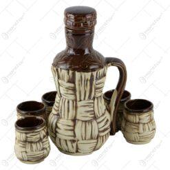 Set pentru vin din ceramica - Model impletit