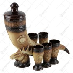 Set pentru vin din ceramica - Corn de vanatoare