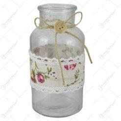 Vaza din sticla cu dantela florala 8x16 CM