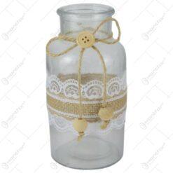 Vaza din sticla cu dantela 8x16 CM