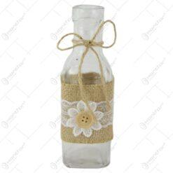 Vaza din sticla cu dantela si floare 5x16 CM