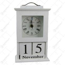Calendar perpetuu cu ceas din lemn 15x22 CM