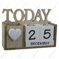 Calendar perpetuu din lemn 16x11 CM - Today
