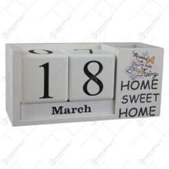 Calendar perpetuu din lemn 19x9 CM - Home sweet home